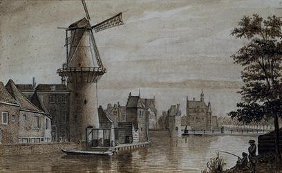 RI-216 Gezicht op de Pompenburgsingel, de Goudsesingel, de Hofpoort en de Delftse Poort, de Blauwe molen en de ...
