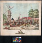 RI-220-I De Blauwe molen en Langebrug bij het Strooveer. De Blauwe molen en de Sint-Laurenskerk, op de achtergrond, ...