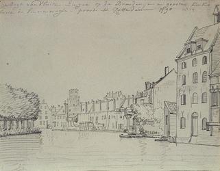 RI-234 Gezicht op de Schiedamsesingel. Op de achtergrond de toren van de Grote Kerk.