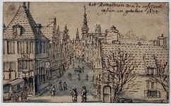 RI-244 Tot Rotterdam van de oostpoort gezien en getekent 1674 . De Hoogstraat.