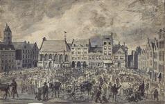 RI-255 Een Dingsdagmarkt op de Nieuwemarkt, omstreeks het jaar 1800. Midden links de Prinsenkerk, rechts daarvan het ...