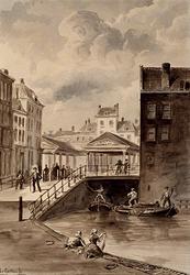 RI-265 Het Spuiwater met kijk op de Vlasmarkt. De Vlasmarkt is in 1858 afgebroken.