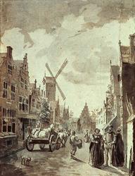 RI-268 Gezicht op de Meulenstraat richting de oude Vestmuren anno 1560.