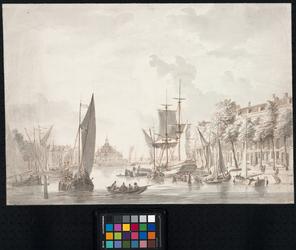 RI-285 Oudehaven, gezien uit noordlijke richting. Links de Spaansekade, in het midden de Ooster Oudehoofdpoort en ...