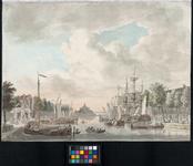 RI-286 Oudehaven, gezien uit noordlijke richting. Links de Spaansekade, in het midden de Ooster Oudehoofdpoort en ...