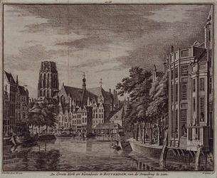 RI-312 De Grote Kerk en Korenbeurs te Rotterdam, gezien vanaf de Kleine Draaibrug.