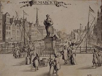 RI-325 De Marckt (Grotemarkt anno 1694). Waarschijnlijk getekend naar de kopergravure van Johannes de Vou uit 1694.
