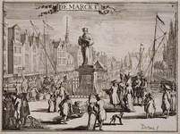 RI-326-I Gezicht op het standbeeld Erasmus aan de Grotemarkt. Op de achtergrond de Steigersgracht. Links boven de ...