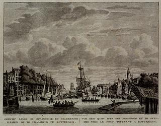 RI-359-1 De Oudehaven gezien vanaf of van nabij het oostelijk havenhoofd in noordelijke richting. Links de Geldersekade ...