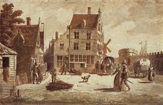 RI-377 Gezicht op de Vestmuren de Keizerstoren en de Vissersdijk vanaf de Oude Schiedamse Poort omstreeks 1550.