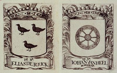 RI-39-P-EN-Q Wapens van de leden der vroedschappen. De heer E. de Ruuck en de heer J. van Heel.