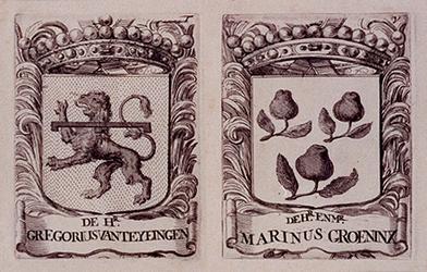 RI-39-W-EN-X Wapens van de leden der vroedschappen. De heer Gregorius van Teylingen en de heer mr. Marinus Groeninx