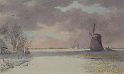 RI-445 Wintergezicht op de Buiten-Rotte en molens van Hillegersberg.