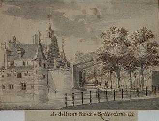 RI-495 De Delftse Poort anno 1764 vanuit het oosten.