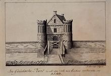 RI-522 De Goudsche Poort zoals die was in 1599, gezien van buiten de stad.