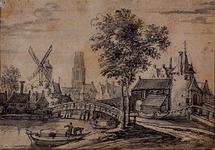 RI-533 Gezicht op de Strooveer, Hofpoort en Langebrug bij de Rotte. Links (waarschijnlijk) de Blauwe Molen (als ...