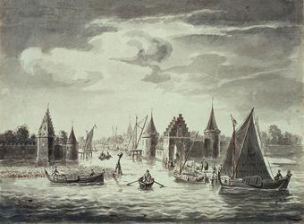 RI-557 Gezicht op de St. Laurenspoort en de wallen aan de Oudehaven omstreeks 1540.