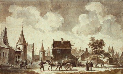 RI-559 Gezicht op de Sint-Laurenspoort en de zuidelijke stadsvest omstreeks 1560.