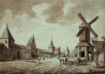 RI-560 Gezicht op de St. Laurenspoort, rechts de Korenmolen omstreeks 1560.