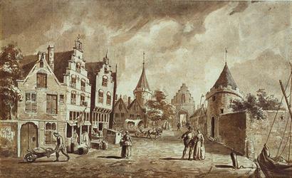 RI-561 Gezicht op de Mandemakerssteeg en de St. Laurenspoort, gezien vanaf de Toerijstuin omstreeks 1560.