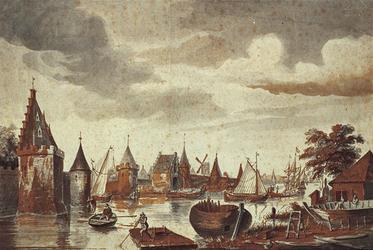 RI-562 De Blauwe toren, Havesteyn en de St. Laurenspoort gezien vanaf de Scheepmakerij omstreeks 1560.