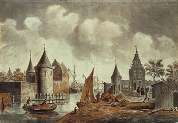 RI-563 Gezicht op de Blauwe toren en de Sint-Laurenspoort aan de Kolk omstreeks 1560.