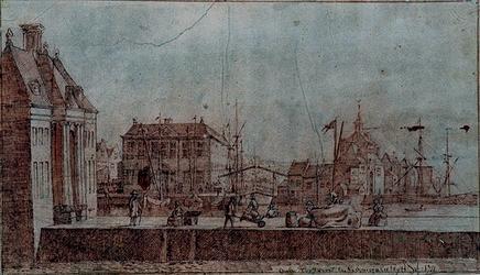 RI-576 De Oude Hoofdpoort en het Admiraliteits Hof anno 1711.