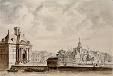 RI-610 Oude Haven.Wester Oude Hoofdpoort, ca 1810?Haringvlietbrug en Ooster Oude Hoofdpoort.