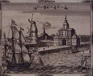 RI-618 Gezicht op de Wester Nieuwe Hoofdpoort of Wittepoort, rechts de ingang Leuvehaven en links twee molens en de zoutkeet.