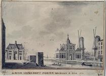 RI-622 De Leuvehaven met de beide Hooftpoorten uit het noorden, vanaf Terwenakker. Rechts de molen de Pelikaan en de ...