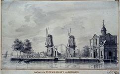 RI-624 De mond van de Leuvehaven met de Nieuwewerks- brug en de molens Pelikaan en Oranjeboom. Links de Nieuwe Maas, ...