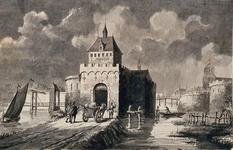 RI-637 De Schiedamse Poort omstreeks 1650 van buiten de stad gezien.