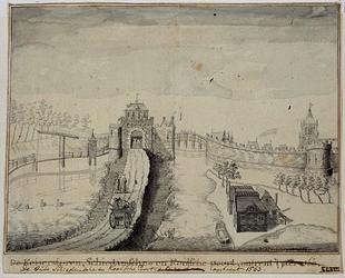 RI-639 De Schiedamsedijk met de Schiedamse Poort, links de singel, rechts de Leuvekolk, de St.-Laurenskerktoren en de ...