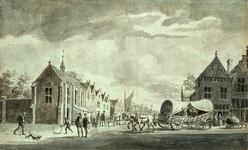 RI-659 Gezicht op het Sint-Caecilia of Besloten Zusteren Klooster op de hoek van de Kipstraat omstreeks het jaar 1450.