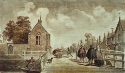 RI-660 Het Sint-Caecilia of Besloten Zusteren Klooster op de hoek van de Kipstraat, gezien vanaf de Kaasmarkt omstreeks 1450.