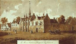 RI-661 Het Sint-Annaklooster in de Bredestraat op de hoek van de Goudsewagenstraat omstreeks het jaar 1550.