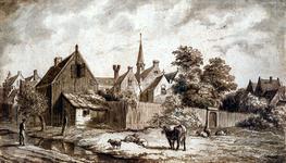 RI-665 Achterzijde van het Sint-Agathaklooster aan de Westewagenstraat omstreeks 1550.