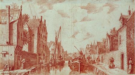 RI-683 Delftsevaart met aan de oostzijde rechts het Minder- of Cellebroeders Klooster gezien vanaf de Krattenbrug.