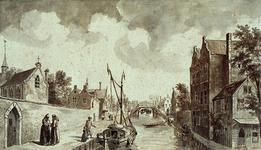 RI-684 Delftsevaart bij het Minderbroedenklooster aan de linkerkant gezien vanuit het noorden anno 1550.
