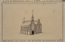 RI-686 De oude St. Sebastiaans of Schutters Capel in de Lombardstraat 1627. Het Noorder-pand, met het Torentjen gebouwd ...