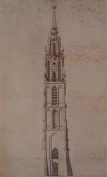 RI-697-A De toren van de St. Laurenskerk aan het Grotekerkplein anno 1621.