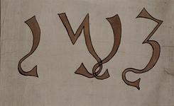 RI-741-B1 Afbeelding van de oude gedenksteen dagtekenende van de opbouw van de Grote Kerk anno 1423.Opschrift ...