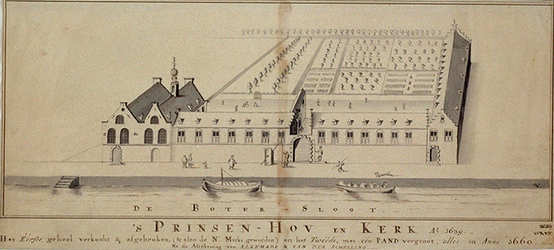 RI-745 De Prinsenkerk en Prinsenhof aan de Botersloot anno 1639.