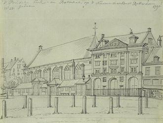 RI-752 De Prinsenkerk en de Boterhal op de Nieuwemarkt noordzijde.