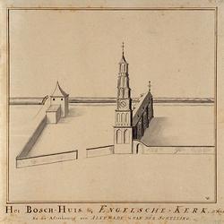 RI-771 Het Bosch-huis en de Engelse kerk. Ao 1625. Na de afteekening van Alkemade & van der Schelling. Hoogstraat, ...