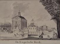 RI-817 Engelse Episcopaalse Kerk aan het Haringvliet, uit het zuidwesten. In het midden: de Rooleeuwmolen op de ...