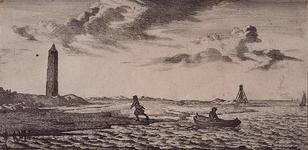 RI-84-2-I Met een jol wordt een man aan het strand gezet bij het stenen baken bij Oostvoorne..