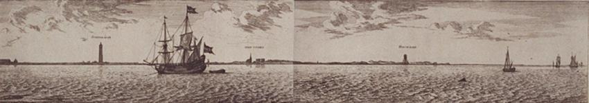 RI-84-3-4-II Oever Maas aan Brielse zijde deel 3 en deel 4 naast elkaar.