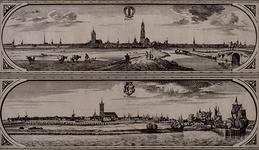 RI-84-A Deel van de Maaskaart: Delft (boven) en Schiedam vanaf de Nieuwe Maas (onder).