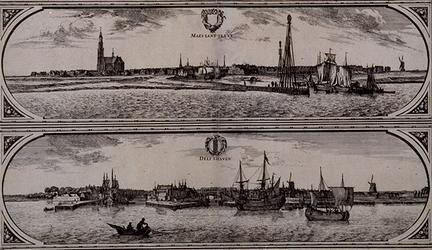 RI-84-C Deel van de Maaskaart: de Maas Lant Sluys (boven) en de Delfshaven (onder).
